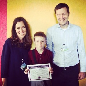 Jude won the Brent lionhearted award for good character and citizenship at school.